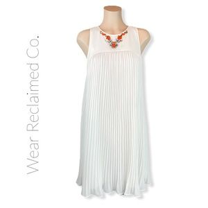 TED BAKER White Drop Pleat Bejeweled Dress